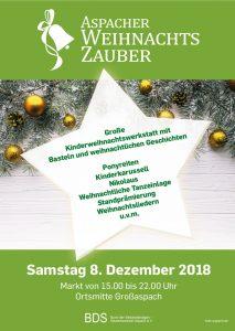 Plakat Aspacher Weihnachtszauber 2018, © gadget.de