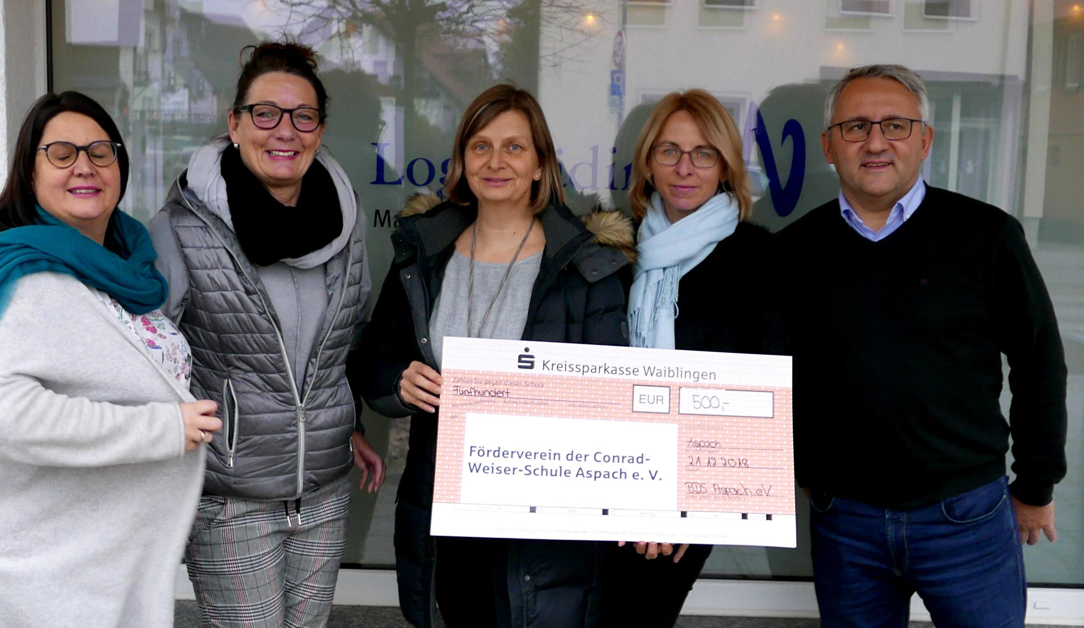 v.l.n.r. Manuela Gassmann-Habele, Monika Krail, Stefanie Gerling, Elke Lehr und Volker Benignus